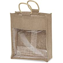 The Lucky Clover Trading Jute Three Wine Handle Bag with Window