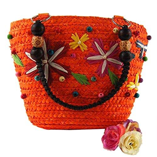 QIYUN.Z El Color Del Caramelo Mujeres Del Verano De Asas Tejido Informal Bolsa De Hombro Bolsos De Compras Naranja