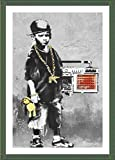 Alonline Art - Boy with Dance Mat Banksy Green Framed Poster (Print on 100% Cotton Canvas on Foam Board) - Ready to Hang | 15''x21'' | Frame Framed Decor Wall Art Pictures Framed Paints for Home Decor