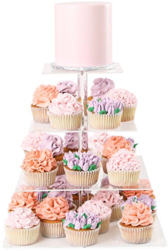Cupcake Server - Four Tier Cupcake Stand Square - Dessert Tower | Plus Travel Tote Bag | Extra Strong 4 Tiered Clear Plastic Acrylic Serving Display Stands | Wedding Birthday Party Cup Cake Donut Tree By Cakes Of Eden