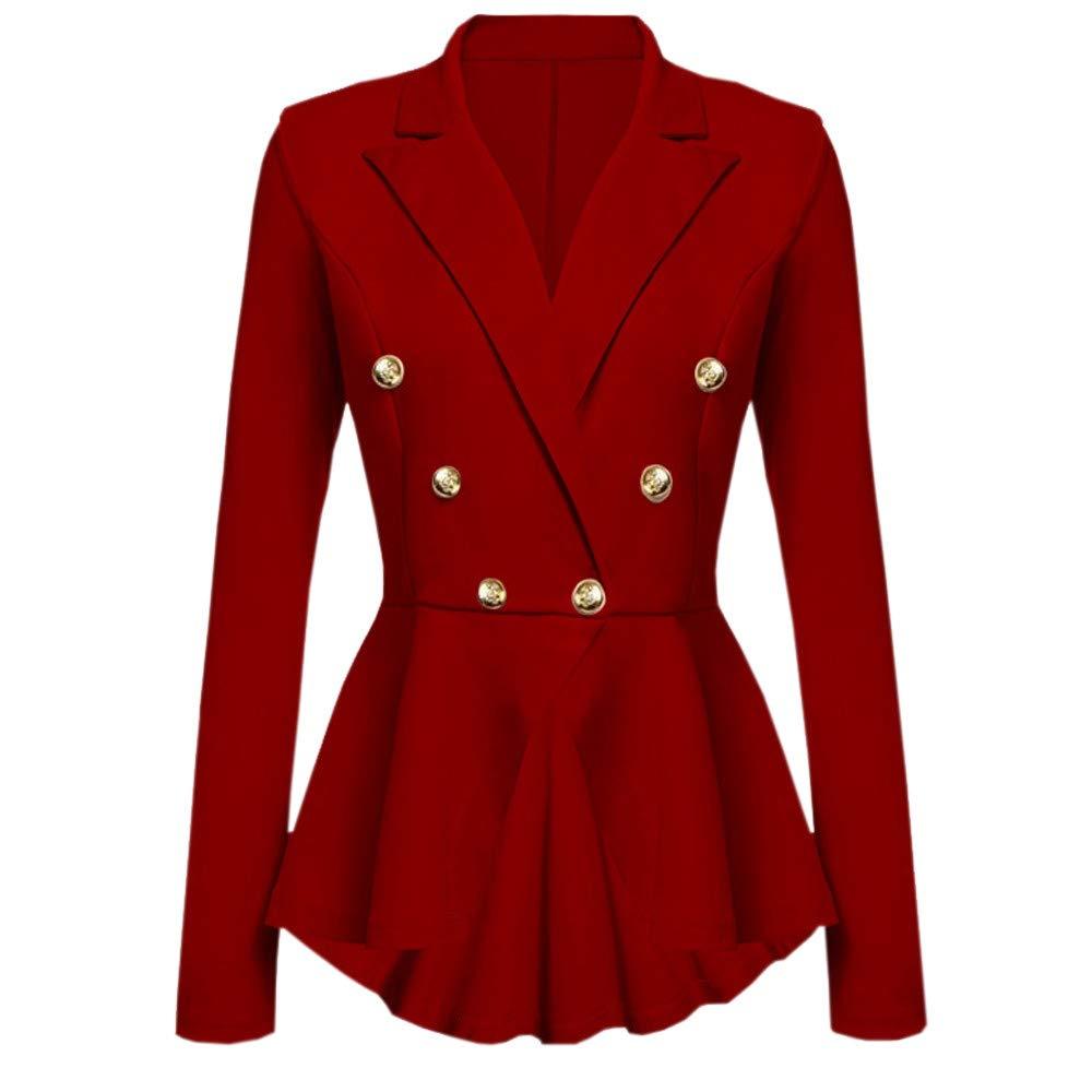 UONQD Women Long Sleeve Blazer Ruffles Peplum Button Casual Jacket Coat Outwear(Small,Red)