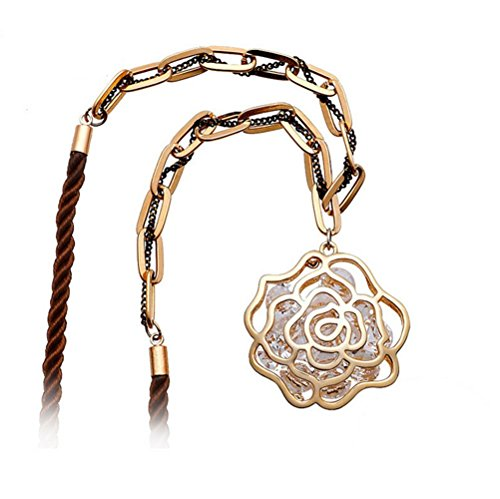 Price comparison product image Winter's Secret Champaign Gold Plated Shining Zircon Cotton Rope Hollow Rose Flower Pendant Necklace