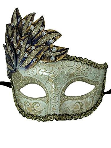 Blue Gold Venetian Mask Masquerade Mardi Gras Party Leaf Cascade