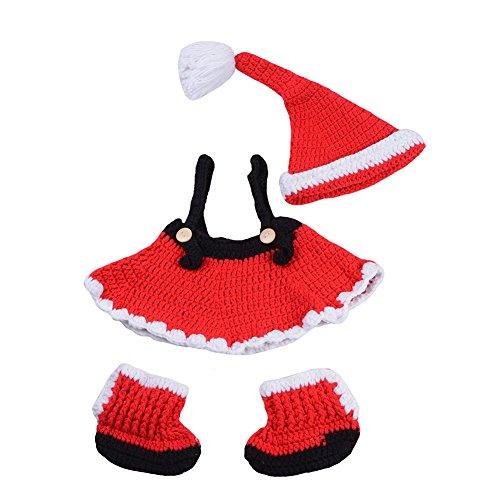 CX-Queen Newborn Baby Photography Prop Crochet Girl Christmas Hat Skirt Boots Outfit (Newborn Christmas Costume)