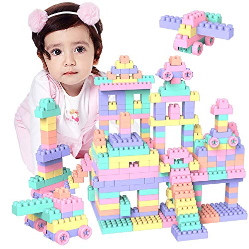 ITODA Building Blocks Set Educational Blocks Stacking Toys Creative Connecting Kit Plastic Set for Study, Play, Non-Toxic Construction Bricks with Carrying Container (100 PCS) for $<!--$19.50-->