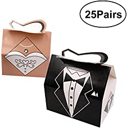 WINOMO Wedding Favor Candy Box Bride and Groom Dress Tuxedo Favor Gift Boxes Pack of 25 Pair