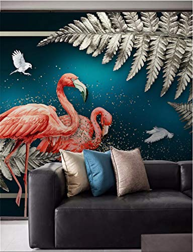 Sdefw Wall Stickers & Murals European Hand-Painted Luxury Home Decor Wall Paper 3D Silver Gray Tropical Plant Leaves Flamingos Dark Blue Mural Wallpaper 3D 250X175Cm