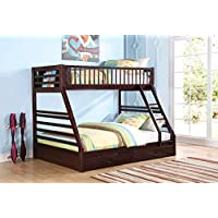 1PerfectChoice Jason Youth Kid Bedroom Twin XL over Queen Bunk Bed Bottom Drawers Wood Espresso