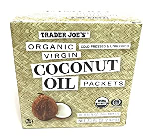 Trader Joe Organic Virgin Coconut Oil Packets (Pack of 14 Packets), Net Wt. 7.1 fl oz