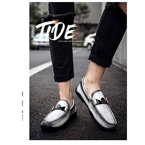 White Hombres Cuero Ocasionales Nuevos Del De Yxlong Coreanos Los Zapatos Guisantes Otoño qAxnSwFPw