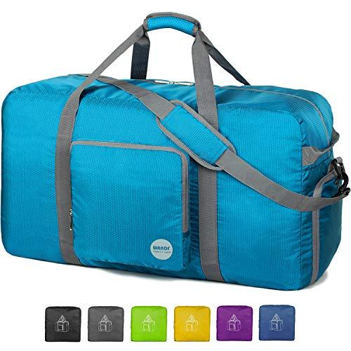 28 Foldable Duffle Bag 80L for Travel Gym Sports Lightweight Luggage Duffel By WANDF, Blue