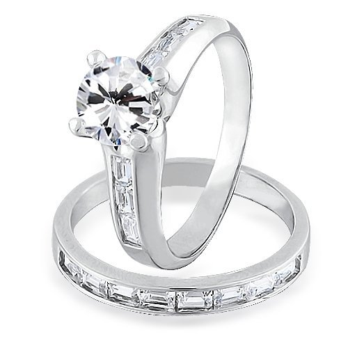Bling Jewelry Sterling Silver 1.5-ct CZ Baguette Channel Set Engagement Wedding Ring Set – Size 5