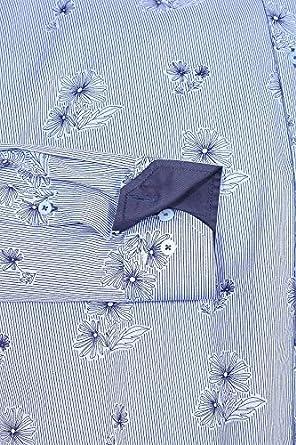 Meadrine Chemise Homme Imprime a Dessin Fleurs Bleues oppositions Bleues Marine Coupe Slim fit