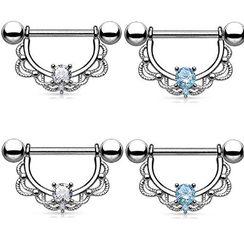 Kokoma Crystal Nipple Rings (White+Blue)