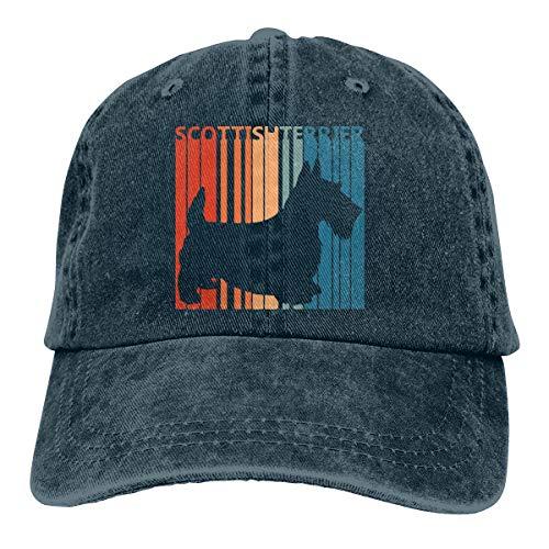 - Men Women Classic Denim Jeans Baseball Cap Scottish Terrier Dad Hat Navy