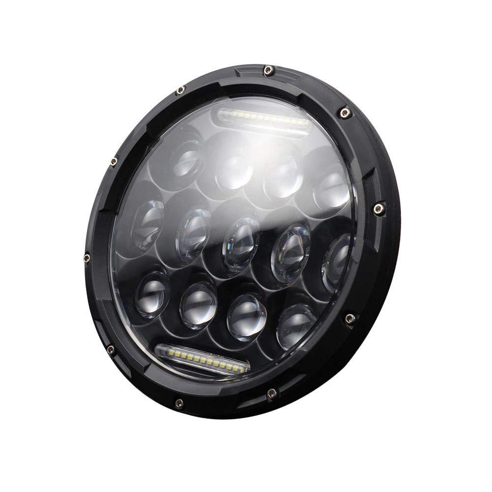 Katurn 7 '' Round Black LED Headlight con fasci Alti Bassi Bianco DRL Modifica del Segnale di svolta per Jeep Wrangler JK TJ LJ CJ Hummer H1 H2