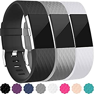 Replacement Bands for Fitbit Charge 2, 3-Pack Fitbit Charge2 Wristbands, Large, Black, Gray, White