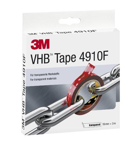 3M VHB 4910F doppelseitiges Hochleistungsklebeband, 19 mm x 3 m, transparent 4910F19