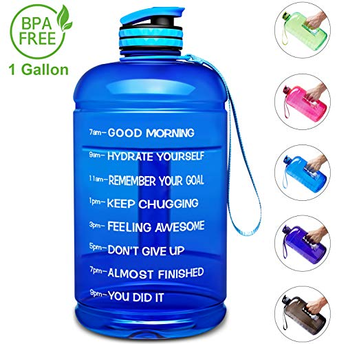 Venture Pal Large 1 Gallon/128 OZ & 74 OZ Motivational Leakproof BPA Free Water Bottle with Time Marker Perfect for Fitness Gym Camping Outdoor Sports-1Gallon-Blue (Perfect Amount Of Water For Bottle Flip)
