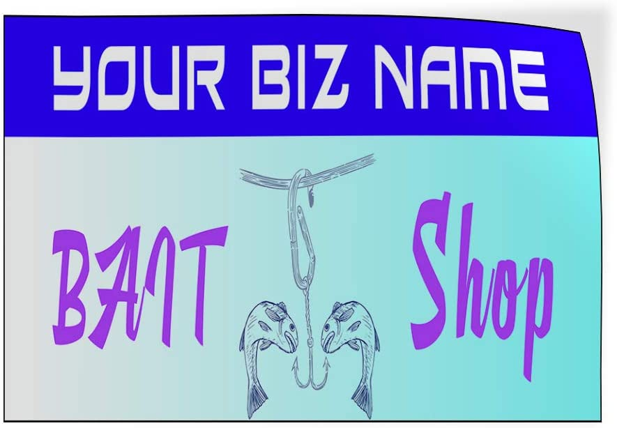 Custom Door Decals Vinyl Stickers Multiple Sizes Business Name Bait Shop Blue Retail Bait Shop Outdoor Luggage /& Bumper Stickers for Cars Blue 45X30Inches Set of 5