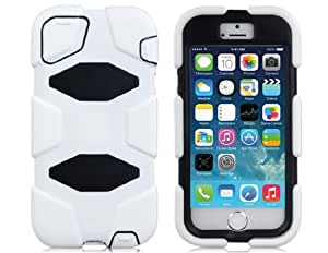 2-in-1 Robot Design Hard Plastic & Rubber Protective Case with Removable Clip for iPhone 5S/S (White)