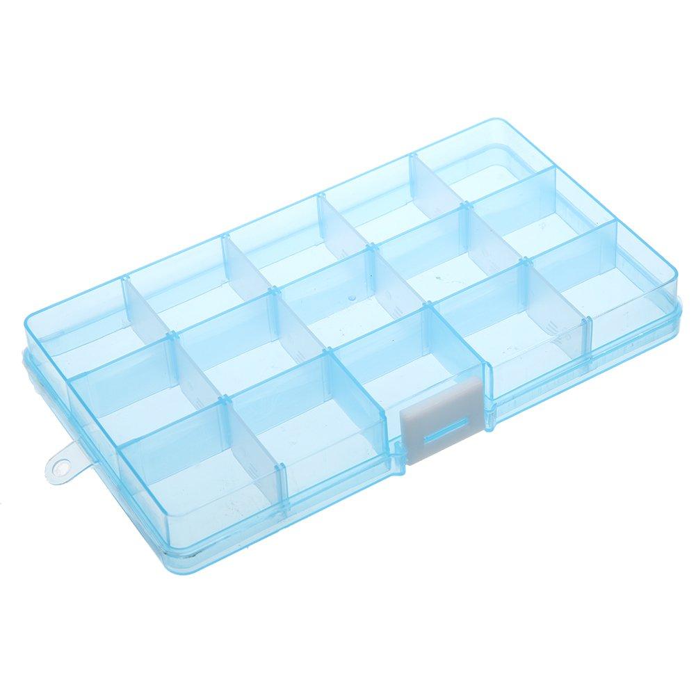 Matefield 15 scomparti rimovibili, contenitore in plastica gioielli/orecchini/contenitore di Blue