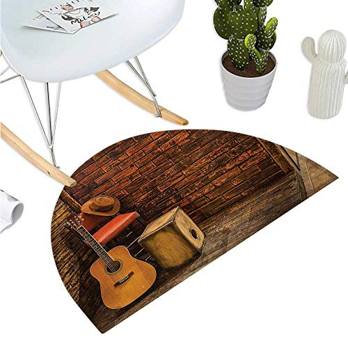 - Music Semicircular Cushion Music Instruments on Wooden Stage in Pub Beverage Cafe Counter Bar Bathroom Mat H 15.7