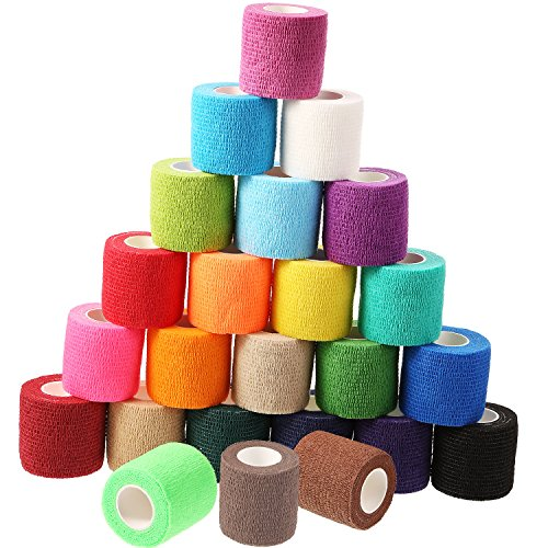 Frienda 24 Pieces Adhesive Wrap Bandage Rolls Self-Adherent Tape for Sports, Wrist and Ankle, 5 Yards (24 Colors, 2 inches)