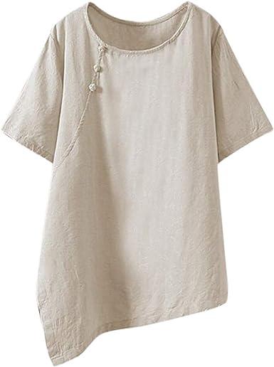Mujer Color SóLido Camisetas Verano, Mujer Gran Camiseta Tamaño ...