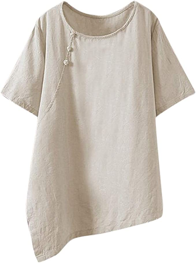 """LAGENLOOK LINEN OVERSIZED PLAIN COLLARED LONG TUNIC//SHIRT*WHITE*BUST UP TO 48/"""""""
