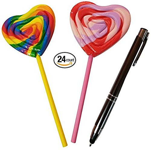 Heart Shape Lollipops Sucker 24 Count 3 Inch Rainbow / Pink And Red Lollipops Candy - Valentines Candy (Heart Love Lollipop)
