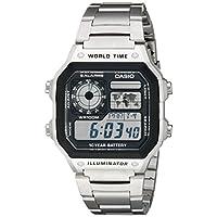Reloj digital de acero inoxidable AE1200WHD-1A para hombre de Casio