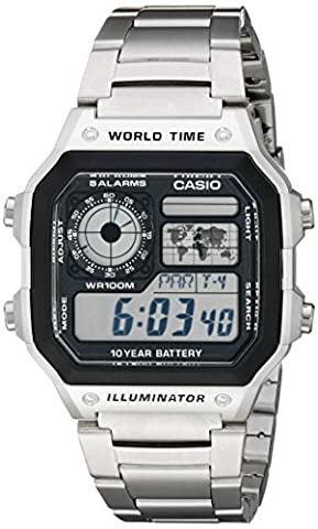 Casio Men's AE1200WHD-1A Stainless Steel Digital Watch (Swimming Digital Clock)