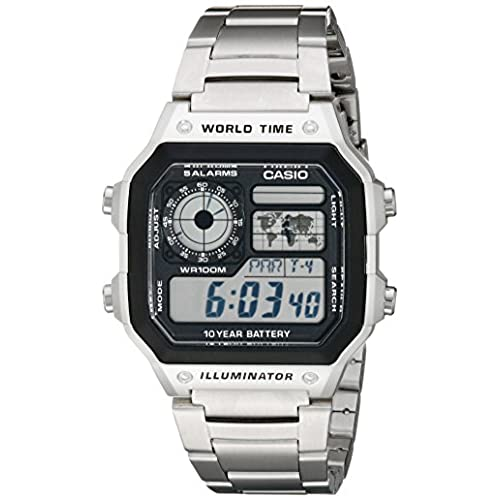 Casio Mens AE1200WHD-1A Stainless Steel Digital Watch