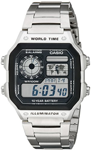 World Time 100m Watch - Casio Men's AE1200WHD-1A Stainless Steel Digital Watch