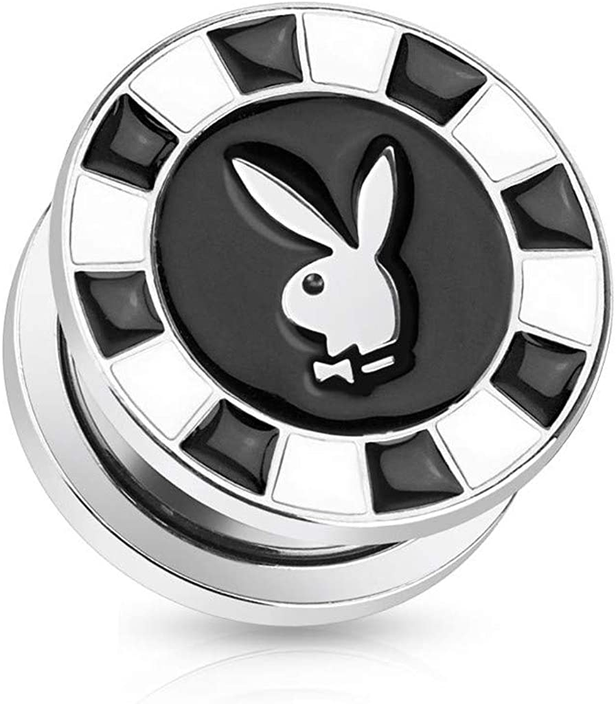 Inspiration Dezigns Playboy Bunny Logo in Space Print Screw Fit Plug 316L Stainless Steel