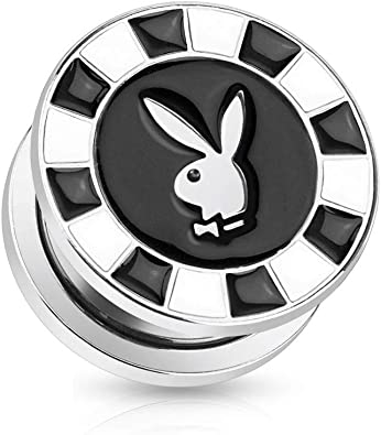 PAIR OF BUNNIES DO IT BETTER PLAYBOY PRINT 316L SURGICAL STEEL SCREW FIT PLUGS