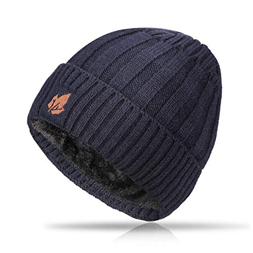 TRENDOUX Beanie, Knit Slouchy Winter Hat Warm Lining Men Women - Acrylic Unisex Plain Skull Cap - Baggy Toboggan Beanies - Navy