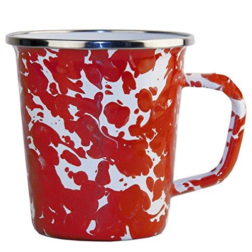 Enamelware - Red Swirl Pattern - 16 Ounce Latte Mug