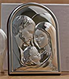 Angel Favors Collection Argento Holy Family Silver Religious Icon on Wood - Made in Italy