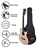Kadence Frontier Series Q10 Semi-Acoustic Guitar, Natural, Super Combo with Bag and Accessories