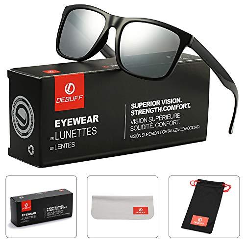 (DeBuff Unisex Polarized Sunglasses Classic Retro Sun Glasses, Unbreakable TR90 Frame (Black/Sliver Mirror))