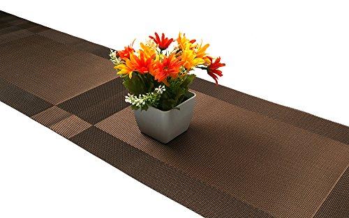 Compatible Placemats table runner,U'artlines 1 piece Crossweave Woven Vinyl Table Runner Washable 30x180cm (Brown, Table runner) by U'Artlines (Image #8)