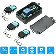 KKmoon 433Mhz DC 12V 1CH Universal 10A Relay Wireless Remote Control Switch Receiver Module and 1PCS 2 Key RF 433 Mhz Transmitter Remote Controls 1527 Chip Smart Home Automation