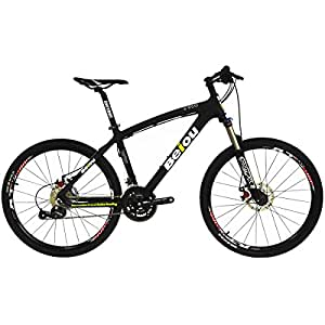 BEIOU Toray T700 Carbon Fiber Mountain Bike Complete Bicycle MTB 27 Speed 26-Inch Wheel SHIMANO 370 CB004 (Black, 15-Inch)