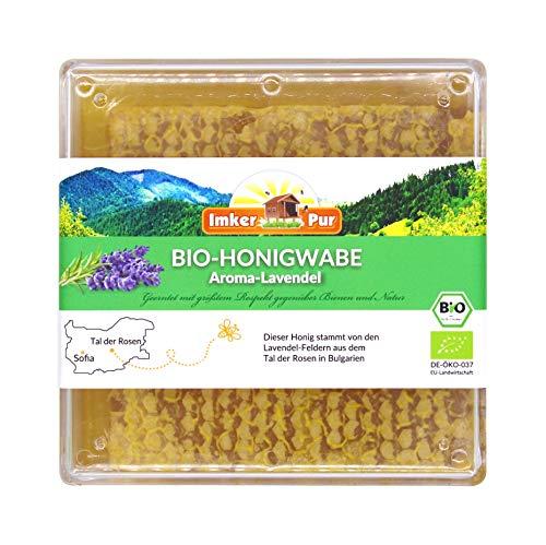 ImkerPur BIO Honigwabe (Aroma-Lavendel), roh und unbehandelt, in der lebensmittelechten Frischebox, die natürlichste Art Honig zu genießen
