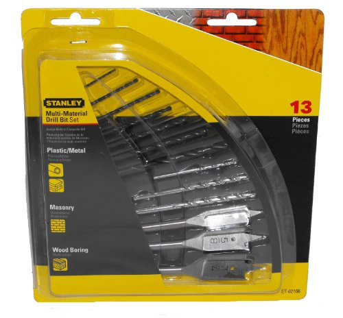 Stanley ST-02106 13 Piece Multi-Material Drill Bit Set Drill Bit Assortment