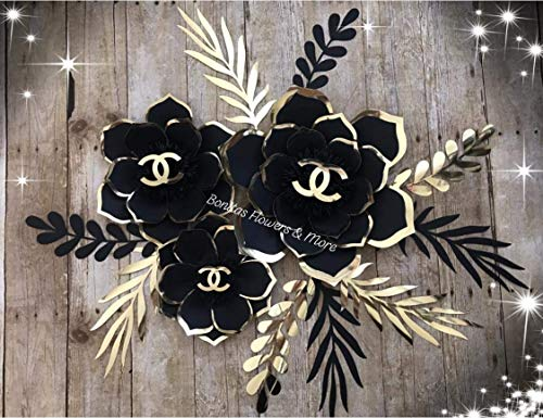 Chanel Inspired Handmade Paper Flowers set - Chanel Party Decor - Paper Flower Wall -