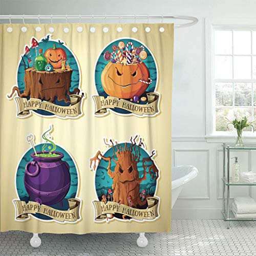 Emvency Fabric Shower Curtain Curtains with Hooks Spooky of Halloween Vintage Labels with Pumpkins Sweets Tree Cauldron Stump Grin Collection Witchcraft Bat 72