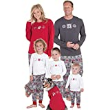 FimKaul Christmas Family Matching Pajamas Set Kids Mom Dad Deer Snowflake Pattern Outfits Clothes (Dad Gray,L)